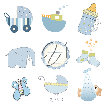 Royalty Free Clipart Image of Baby Boy Elements
