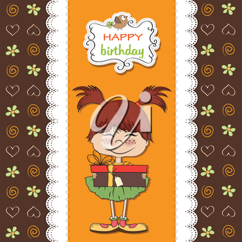 Royalty Free Clipart Image of a Birthday Card With a Young Girl
