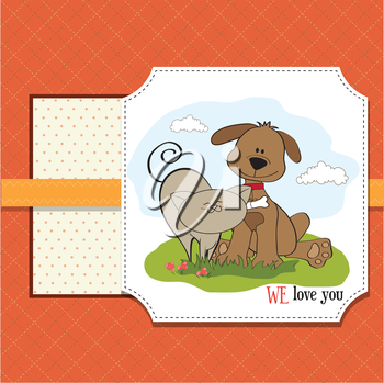 Royalty Free Clipart Image of a Dog and Cat on an I Love You Message