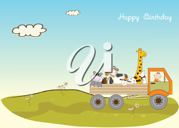 Royalty Free Clipart Image of a Birthday Greeting With a Truck Carrying Animals