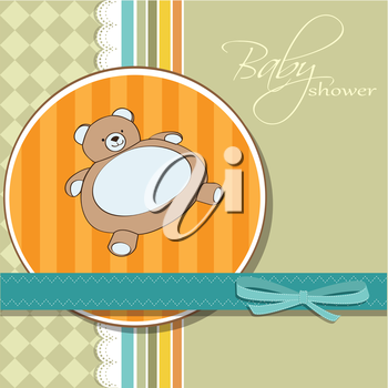 Royalty Free Clipart Image of a Baby Shower Invite With a Teddy Bear
