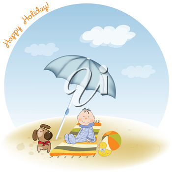 Royalty Free Clipart Image of a Little Boy at the Beach