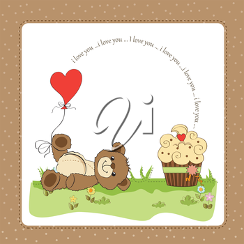 Valentine`s Day card with teddy bear