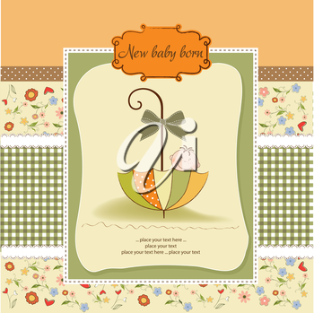 baby shower card with umbrella, vector illustration