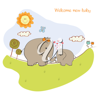 baby shower card with baby elephant and his mother
