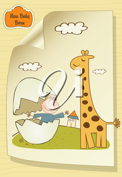 welcome baby card with broken egg and giraffe