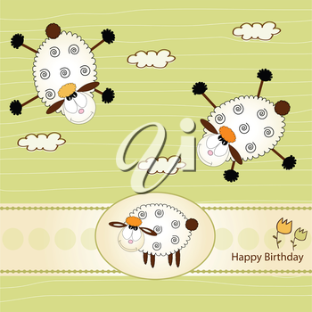 birthday greeting card with sheep