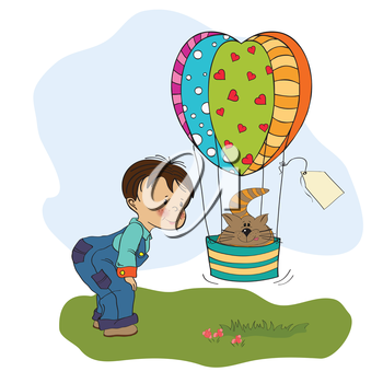 little boy and his flying cat, illustration in vector format