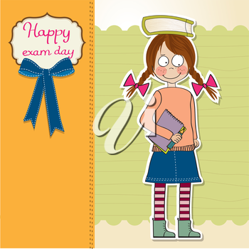 funny young student girl before exam, vector illustration