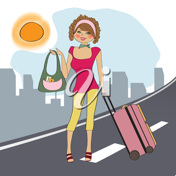 young  woman with suitcase, illustration in vector format