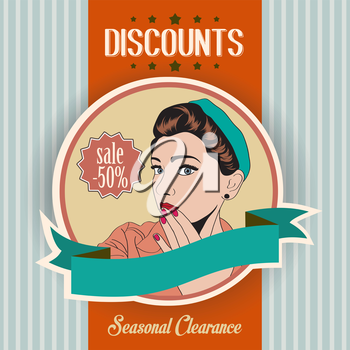retro illustration of a beautiful woman and discounts message, vector illustration
