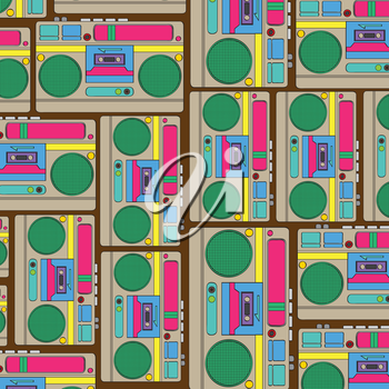 Seamless retro background with boom-box, vector illustration