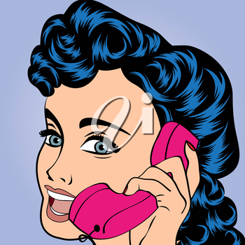 pop art cute retro woman in comics style, vector illustration