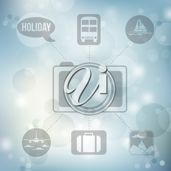 Set of flat design concept icons for holiday and travel on blurred blue background, vector illustration