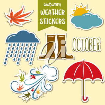 lovely autumn weather stickers collection