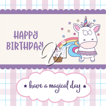happy birthday card  with lovely baby girl unicorn, vector format