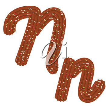 Tempting tipography. Font design. Icing letter. Sweet 3D letter  N of the chocolate cream and candy. Vector