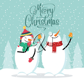 Flat design Christmas card with funny snowman. Christmas poster. Vector