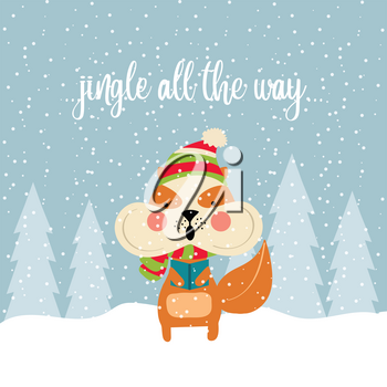 Cute Christmas card with squirrel singing carols. Christmas poster. Vector