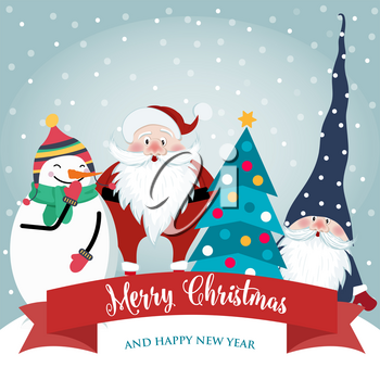 Christmas card with cute Santa, gnome and snowman. Flat design. Vector