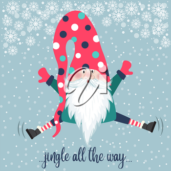 Cute gnome jump. Christmas card. Flat design.