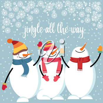 Beautiful flat design Christmas card with happy snowman. Christmas poster. Vector
