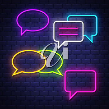 Talk bubble neon signs collection. Chat balloons signs. Neon signs. Vector