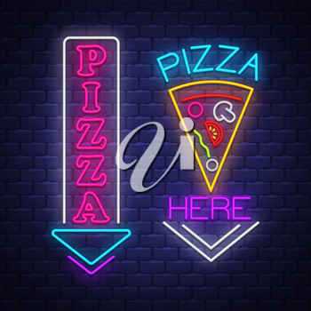 Pizza sign collection - Neon Sign Vector. Pizza sign collection  - neon sign on brick wall background, design element, light banner, announcement neon signboard, night advensing. Vector Illustration