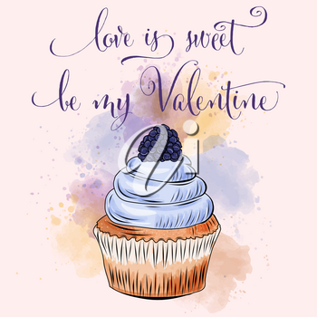 Valentine's day card with cupcake. Love card
