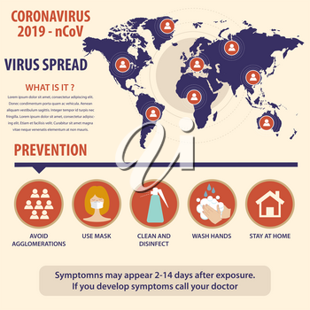 Infographic elements  of the new coronavirus. Covid-19 spread map and prevention. Vector