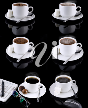 Collage (collection) of various coffee cups with coffee on black background