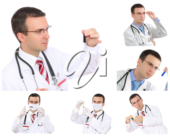 Set (collage) of young doctor in Hospital.Isolated over white