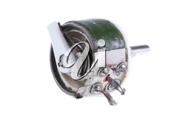 Old, vintage resistor. Isolated over white