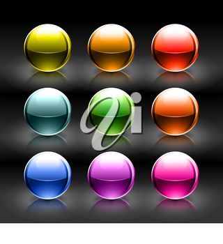 Royalty Free Clipart Image of a Set of Glass Balls