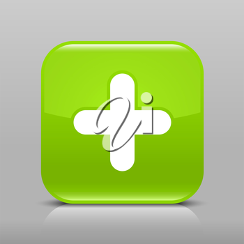 Green glossy web button with plus sign. Rounded square shape icon with shadow and reflection on light gray background