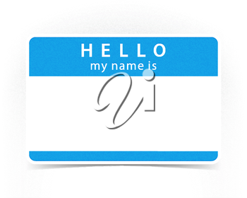 Blue color name tag blank sticker HELLO my name is with drop gray shadow on white background