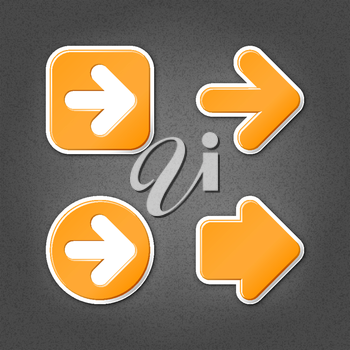 4 orange sticker arrow sign web icon. Smooth internet button with drop shadow on gray background with noise effect