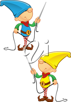 Royalty Free Clipart Image of Elves With Needle and Thread