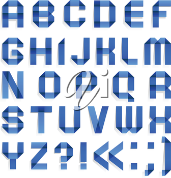 Alphabet folded of colored paper - Blue letters. (A, B, C, D, E, F, G, H, I, J, K, L, M, N, O, P, Q, R, S, T, U, V, W, X, Y, Z).