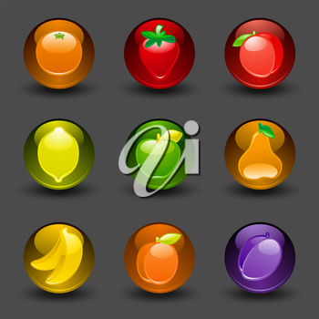 Buttons with fruit on a dark background with shadow
