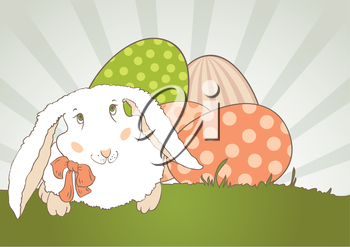 Easter Bunny with egg, retro. Vector design