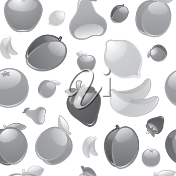 Fruit to background, seamless, gray