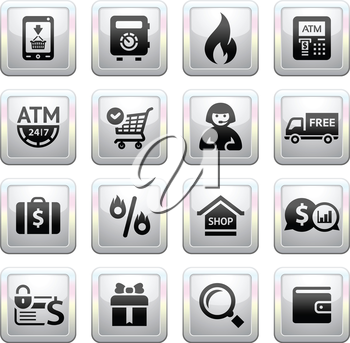 Shopping Icons. square gray. Web 2.0 icons, vector illustration