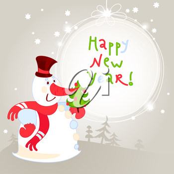 Snowman with Christmas tree - greeting card. 10eps. Can be used like a Christmas card
