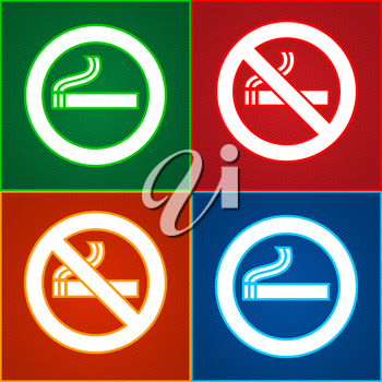 Stickers signs set - Smoking area labels