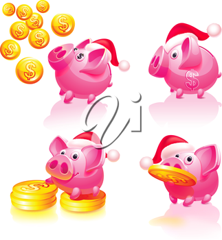 Set icons - Christmas & Happy New Years, Piggy bank with coins, Santa cap vector