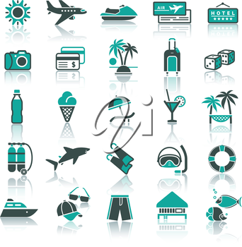 Set icons. Vacation, Travel & Recreation. Tourism, Sports. With reflection