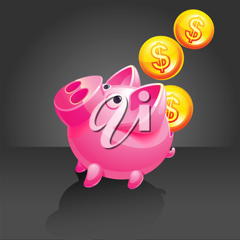 Pig vector icon. Black background. 10 EPS vector.