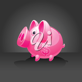 Pink piggy bank with dollar sign. 10 EPS vector.