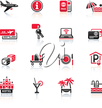 Recreation, Travel & Vacation, icons set. Sport, Tourism with reflection